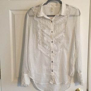 Free People Sheer White with black polka dot top